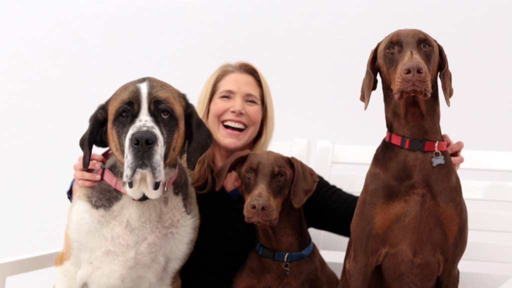 Clare Salstrom with her three dogs.